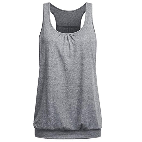 - Womens Sleeveless Pure Color Wrinkled Loose Racerback Workout Tank Top Blouse Gray