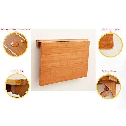Väggmonterat bord GCDW högklassig bambu väggbonad bord, väggfällbart bord, tjock skrivbord, Circle Angle matbord/datorbord/läsbord/skrivbord, lastkapacitet 20 kg