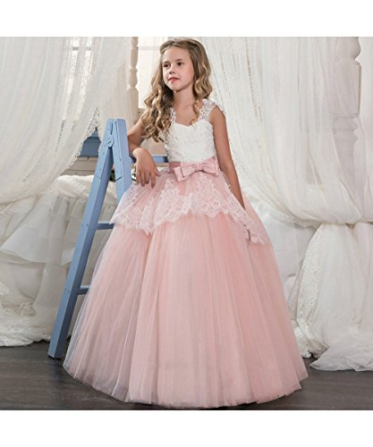 LZH Girls Wedding Dress Princess Pageant Embroidery Ball Gown Dresses -