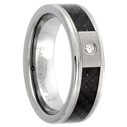 Tungsten Diamond Wedding Beveled Comfort