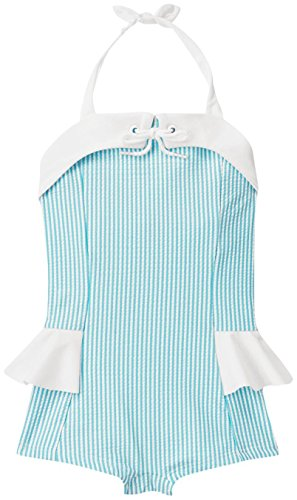 Janie & Jack Girls' Seersucker Swimsuit 200290109, Mint, 3