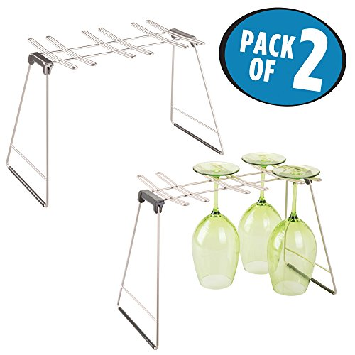 mDesign Freestanding Foldable Wine Glass and Stemware Drying and Display Storage Rack for Kitchen Countertop - Holds 6 Glasses, Non-Skid Feet, Folds Flat for Compact Storage - Pack of 2, Matte Satin (Stackable Glass Rack)