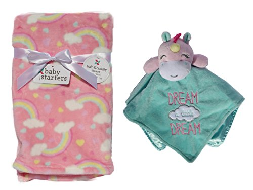 - Dream Unicorn Snuggle Blanket Rattle Head with Rainbow Velour Nursery Blanket