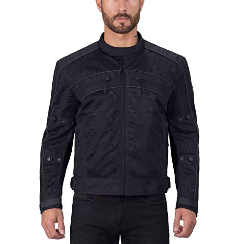 Viking Cycle Ironside Motorcycle Jacket for Men, Black, Medium