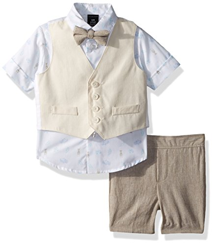 Sean John Baby Boys Four Piece Vest Set, Crisp Linen Safari, 18M