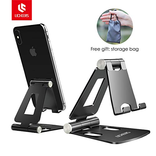 (Adjustable Cell Phone Stand, licheers Multi-Angle Cell Phone Holder, Cradle, Dock, Stand Compatible with iPhone Xs Max XR 8 7 6 6s Plus, Android,Samsung,Kindle,Used for Desk, Table, Night Stand-Black)