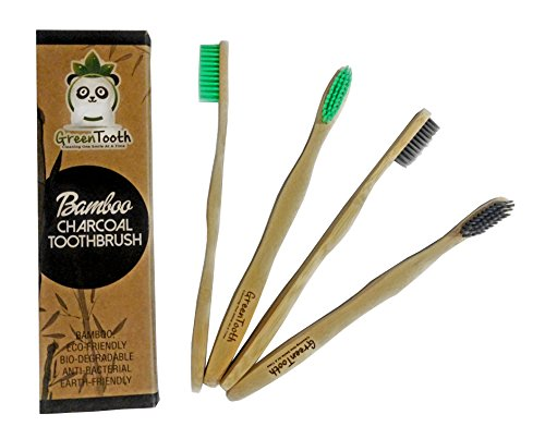 Bamboo Charcoal Infused Toothbrush, Eco-Friendly, Soft & Medium Bristles, BPA free, Naturally Organic,Pack of 4 for Adults