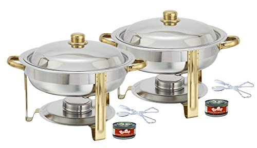 Tiger Chef 2-Pack 4 Quart Round Chafing Dish Buffet Warmer Set, Gold Accented Chafer, Includes Free Chafing Fuel Gel Burns 2.5 Hours and Plastic Serving Tongs (Chafer Adcraft)