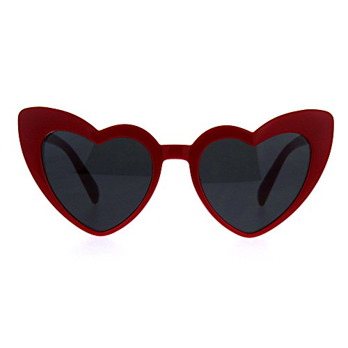 Womens Mod Heart Shape Plastic Funk Sunglasses Red ()
