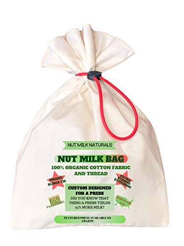 NUT MILK NATURALS NUT MILK BAG. 100% organic cotton fabric and thread. Food grade silicon slider tie. No chemicals in your drink. For nut milks, soy milk, cheese, hot tea, cold press coffee, yogurt (Milk Fabric)