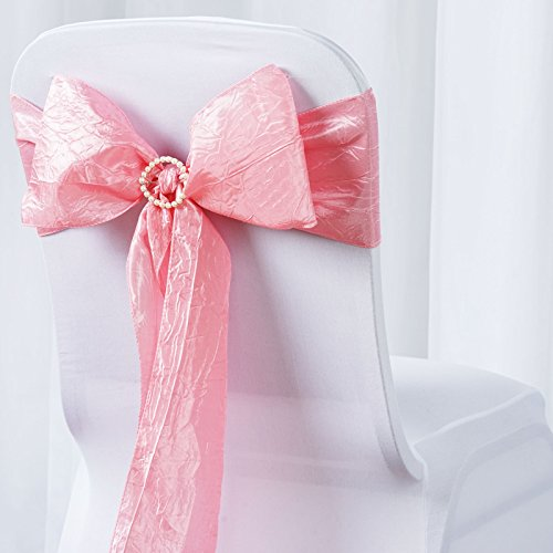BalsaCircle 10 Taffeta Crinkle Chair Sash Bows Ties - Rose Quartz Pink (Baby Shower Chairs For Sale)
