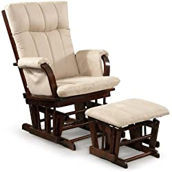 Artiva USA Home Deluxe Mocha Microfiber Cushion Cherry Wood Glider Chair and Ottoman Set