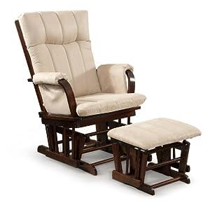 Artiva USA Home Deluxe Mocha Microfiber Cushion Cherry Wood Glider Chair and Ottoman Set