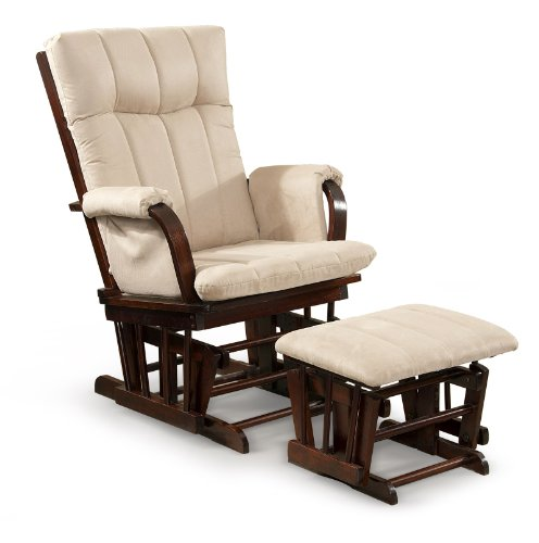 Mocha Glider Recliner - Artiva USA Home Deluxe Mocha Microfiber Cushion Cherry Wood Glider Chair and Ottoman Set
