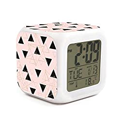 WOWorldgoods Geometric Triangles and Rose Gold Christmas Prints Theme Figure Funny 7 Colors LED Changing Digital Alarm Clock Cube LCD Clock Home Decor