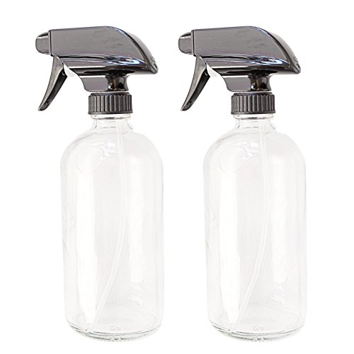 Clean Mama Clear Glass Spray Bottles, 2 Pack, Empty 16 oz Refillable Containers with Trigger Spray, Great for Cleaning Solutions, Cooking, and Misting Plants
