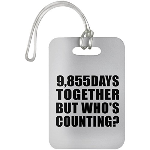 27th Anniversary 9,855 Days Together But Who's Counting - Luggage Tag Bag-gage Suitcase Tag Durable Plastic - Gift for Wife Husband Wo-men Her Him Mother's Father's Day Birthday ()