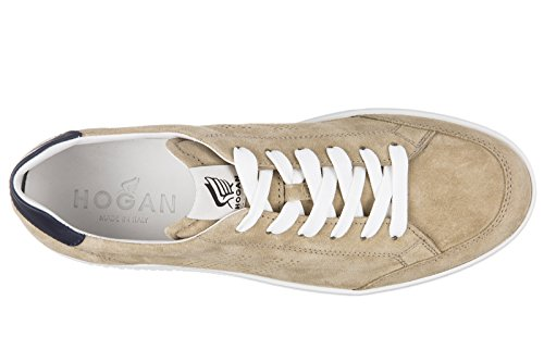 Hogan chaussures baskets sneakers homme en daim h168 lo top h forata beige
