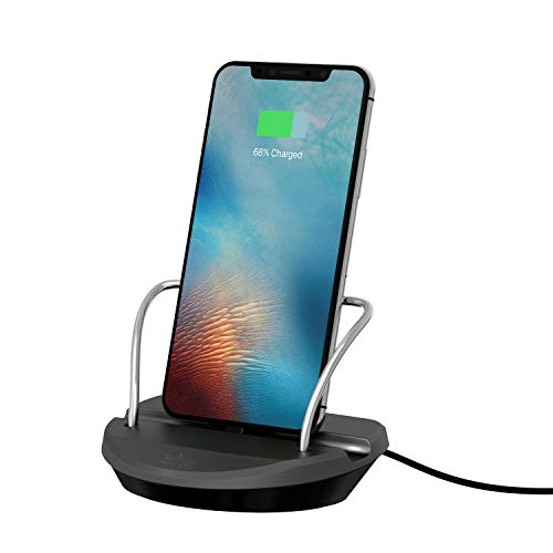 Office Base Compatible for i-Phone Charger Dock Desktop Charging Stand Station (Supports Cases 0-2mm) (Black & Gray)
