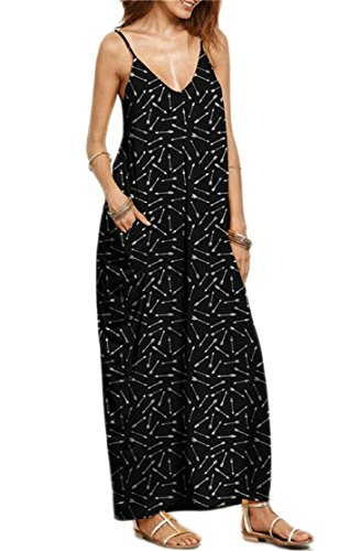 Spaghetti Domple 7 Print Pockets Strap Long V Beach Neck Women Sexy Dress 7q7YS1