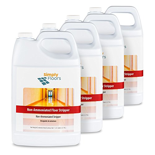 (Simply Floors FLC-00037 Non Ammoniated Floor Stripper - [Pack of 4 - 1 gallon bottles]  pH 10.0-11.0, Economical No Ammonia Concentrated, Low Foam, Floor Finish stripper)