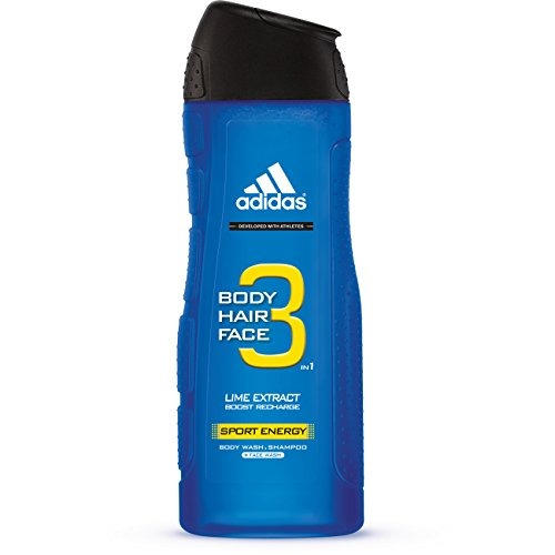 Adidas Gel Shower Gel (Adidas Male Personal Care 3-in-1 Body Wash, Sporty Energy, 16 Fluid Ounce)
