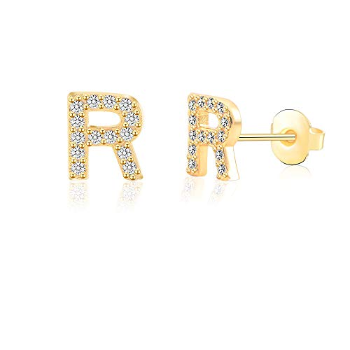 (R Alphabet Stud Earrings for Sensitive Ears Gold Initial Letter Earrings for Girls Women Hypoallergenic Nickel Free Stainless Steel Personalized Monogram Jewelry Bridesmaid Gift)