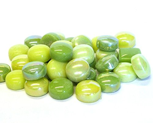 50 Lime Green Optic Drops Mix Recycled Glass Gems Round Shaped Mosaic - Lime Green Mirror