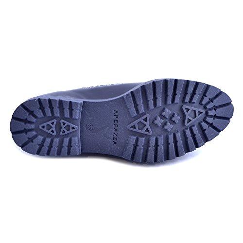 Scarpe donna Apepazza in pelle blu scuro. Modello slip on (da infilare) con perline cangianti sul collo del piede. N.37