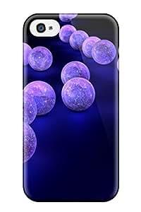 Unique Design Iphone 4/4s Durable Case Cover Purple Balls On Black