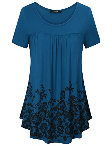 Laksmi Summer Shirts for Women, Basic Solid Floral Tunic Lovely Floral Print Short Sleeve Crew Neck Relaxed Fit Office Casual Wear,DCN L by Laksmi