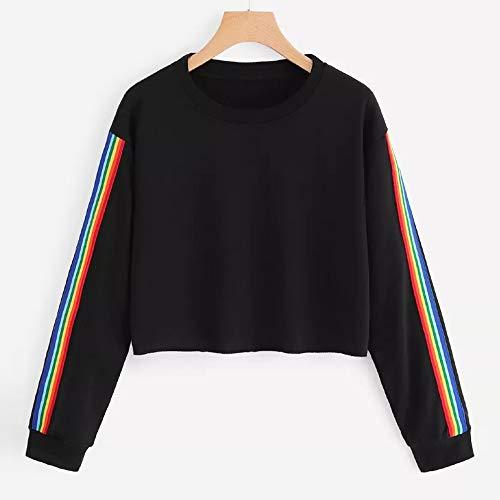 Collo Con Lunga Felpa Camicetta Felpe Tumblr shirt casual Vicgrey Arcobaleno Elegante C Ragazza T Manica Camicia Donna Patchwork Pullove Autunno Cappuccio O PXzwxvx4