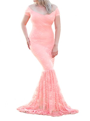 Maternity Maxi Photography Dress Off Shoulder V Neck Short Sleeve Lace Baby Shower Gown for Photo Shoot (2XL, Pink) (Beautiful Baby Lace Skirt)