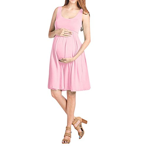 Wesracia Pregnant Women High Waist Sleeveless Solid Color Dress for Pregnant Women Maternity Dress (Pink, L)