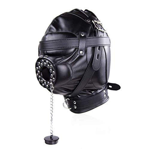 Leather Black All Cover Face Mask with With lock Masquerade Mask Hood Adjustable Black ()