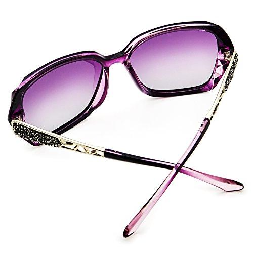 Gafas de LECKIRUT Gafas protectoras Mujer Marco Púrpura UV Púrpura Protección Sol 100 Polarizadas Sombras clásico Lente Grande YqRPwxXrY