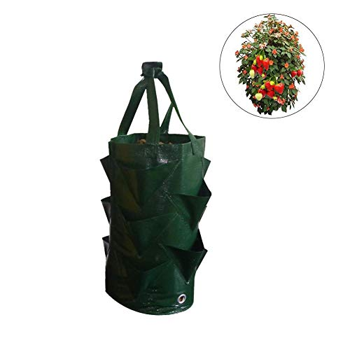 (Splendidsun Hanging Grow Bag,3 Gallons Strawberry Planting Bag Gardening Flower Planter Plant Pouch Aerial Plant Moisturizing Breathable Bags Garden Tool Kit Planting Container.)