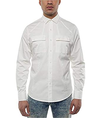 Sean John Mens Dual-Pocket Seam Button Up Shirt Whites