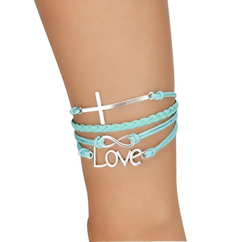 Maxracy Infinity Love Cross Jesus Charm Bracelet Handmade Leather Strap Christian Religion Rope Wristband Bracelets Perfect Christian Charm Friendship Gift for Women and Girls (Infinity Love Cross)
