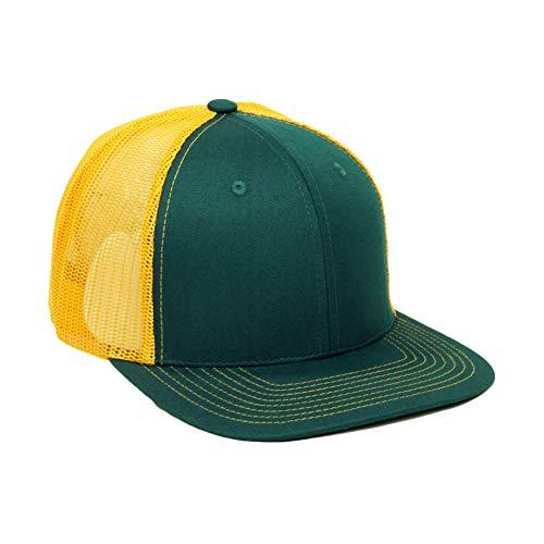 Unisex Premium Soft Curved Mesh Trucker Hat Adjustable Snpaback Cotton Baseball Cap (Green/Yellow)