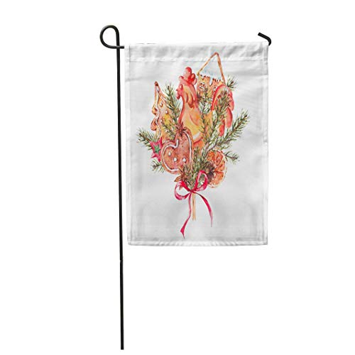Tarolo Decoration Flag Watercolor Christmas Bouquet of Gingerbread Cookies Fir Branches Rooster Lollipop on Stick New Year Holiday Greeting Thick Fabric Double Sided Home Garden Flag 12