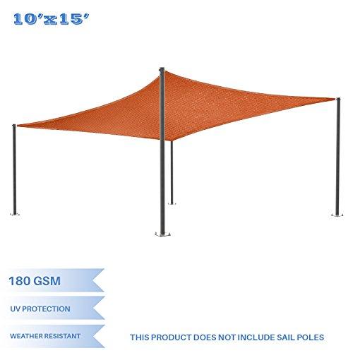 E K Sunrise 10 x 15 Orange Rectangle Sun Shade Sail Outdoor Shade Cloth UV Block Fabric,Curve Edge-Customized