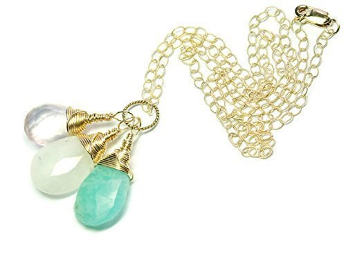 Layla 14K Gold Filled Gemstone Fertility and Pregnancy Necklace. Featuring Natural Faceted Pear Shape Briolette Gemstones Rose Quartz, Moonstone, Amazonite. -
