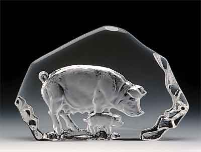 Engraved Lead Crystal -- - Pig Crystal