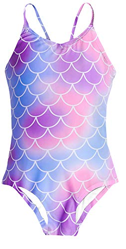 Blue Swimming Suit - Funnycokid Girls One Piece Bathing Suit Blue Purple Pink Fish Scales Swimsuit Age 9-10 Halter Swimming Suit