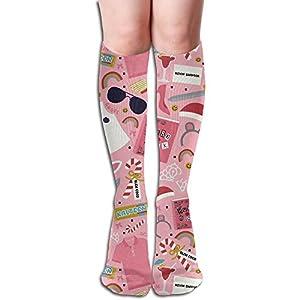 Cute Emoji Sunglasses Rainbow Juice Pink Womens Stockings Knee High Classics Polyester-cotton Long Tube Socks 50cm Black