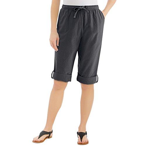 Collections Etc Women's Convertible Leg Capri Pant With Drawstring Waist, Black, (Tab Pocket Capri)