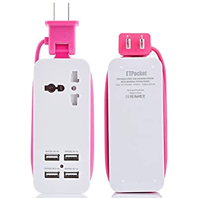 USB Power Strip, Portable Travel Charger Outlets 2.1AMP+1AMP 21W 1.5M/5ft Power Supply Cord with Universal Plug Wide Range Input 100v-240v Power Sockets USB Charger Station 4 Port USB Charger (Pink)