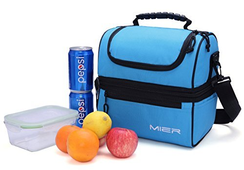 MIER-Adult-Lunch-Box-Blue-Insulated-Lunch-Bag-Large-Cooler-Tote-Bag-for-Men-Women-Double-Deck-Cooler