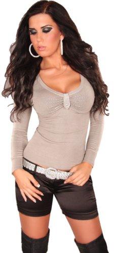 In Style–Jersey para mujer con cuello de pico y piedras, talla única (32-38) Cappuccino